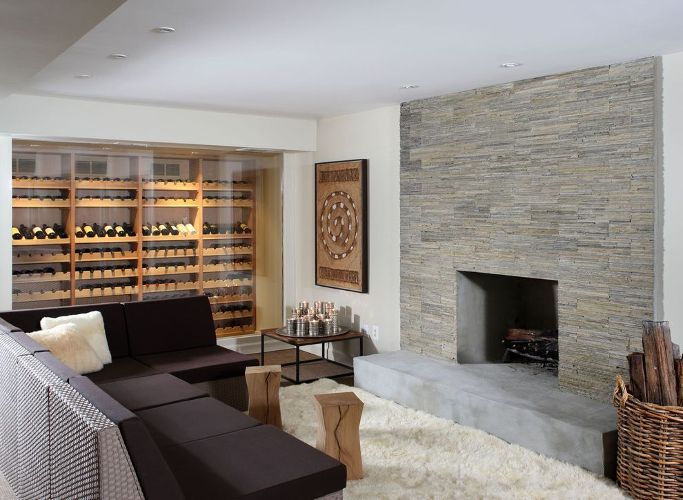 Global Wine Cellars with Contemporary Basement Also Fireplace Hearth Firewood Storage Sectional Sofas Stone Fireplace Surround White Rug Wicker Basket Wine Cellar Wine Storage Woven Furniture