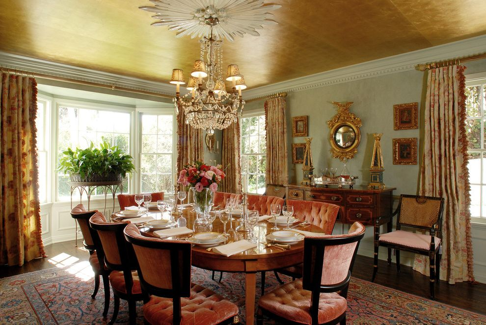Gold Leaf Picture Frames With Traditional Dining Room And Accent Ceiling Antiques Area Rug Bay Windows Chandelier Crown Molding Dentil Chairs