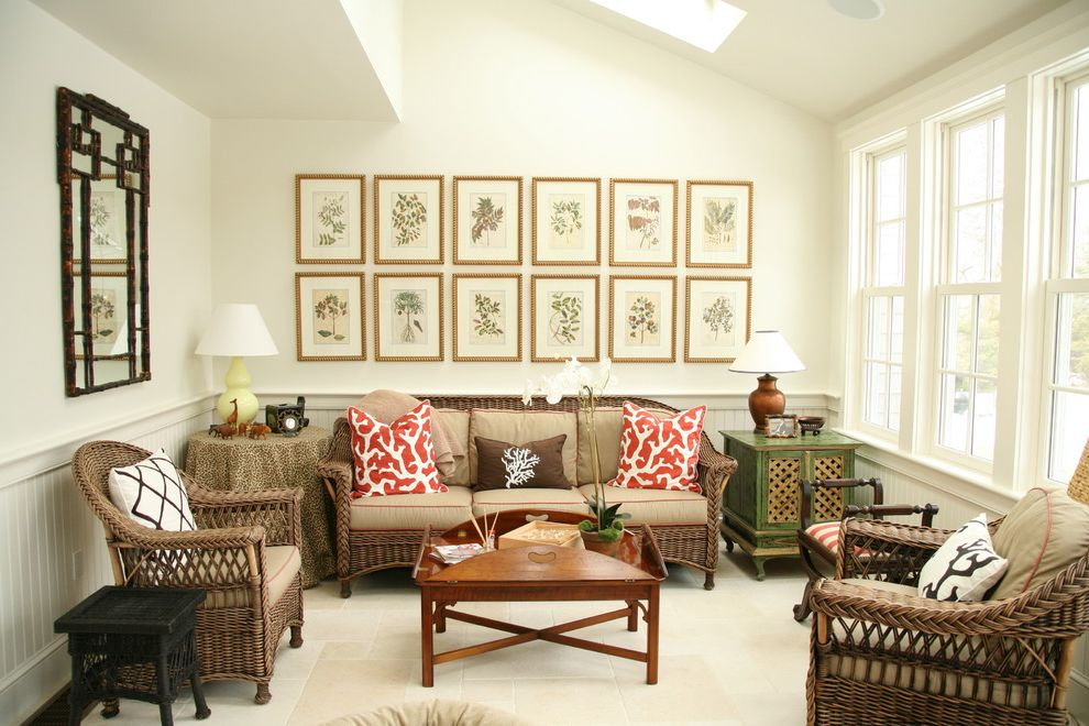 Gold Leaf Picture Frames with Victorian Family Room and Bamboo Framed Mirror Botanical Prints Classic New England Olson Lewis Architects Rattan Skylight Skylights Tile Floor Traditional Updated Traditional White Walls Wicker Furniture