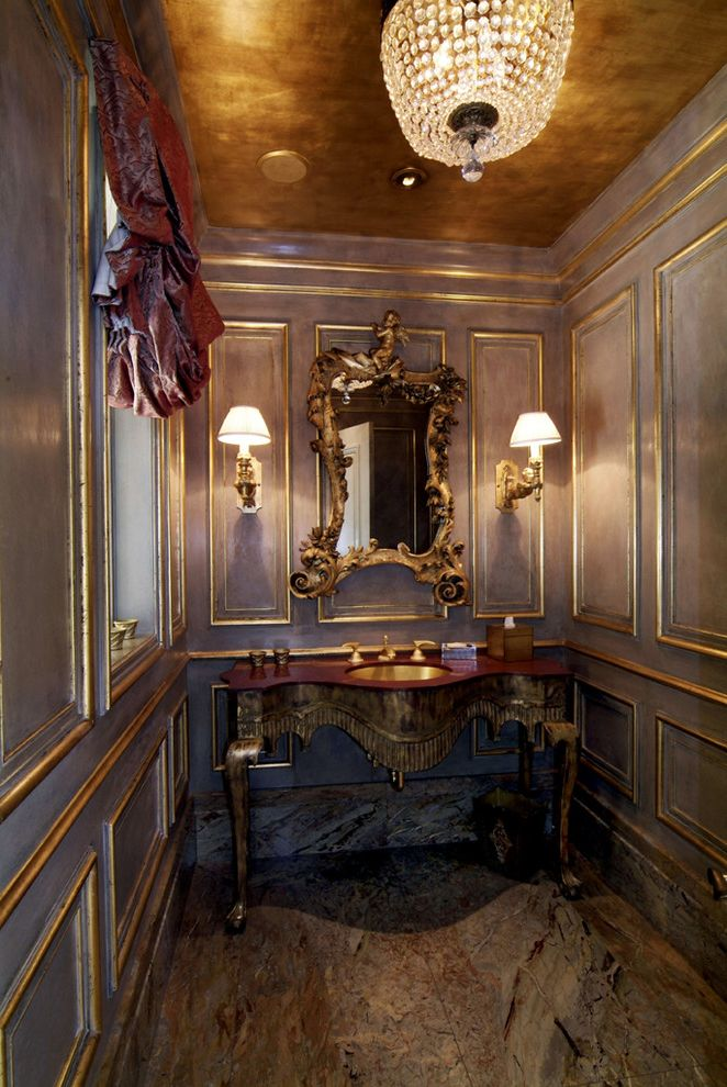 Gold Leaf Picture Frames with Victorian Powder Room and Glass Chandelier Gold Ceiling Gold Leaf Gold Mirror Gold Sconce Gold Sink Lavender Marble Floor Molding Ornate Ornate Vanity Panel Rococo Rococo Mirror Trim