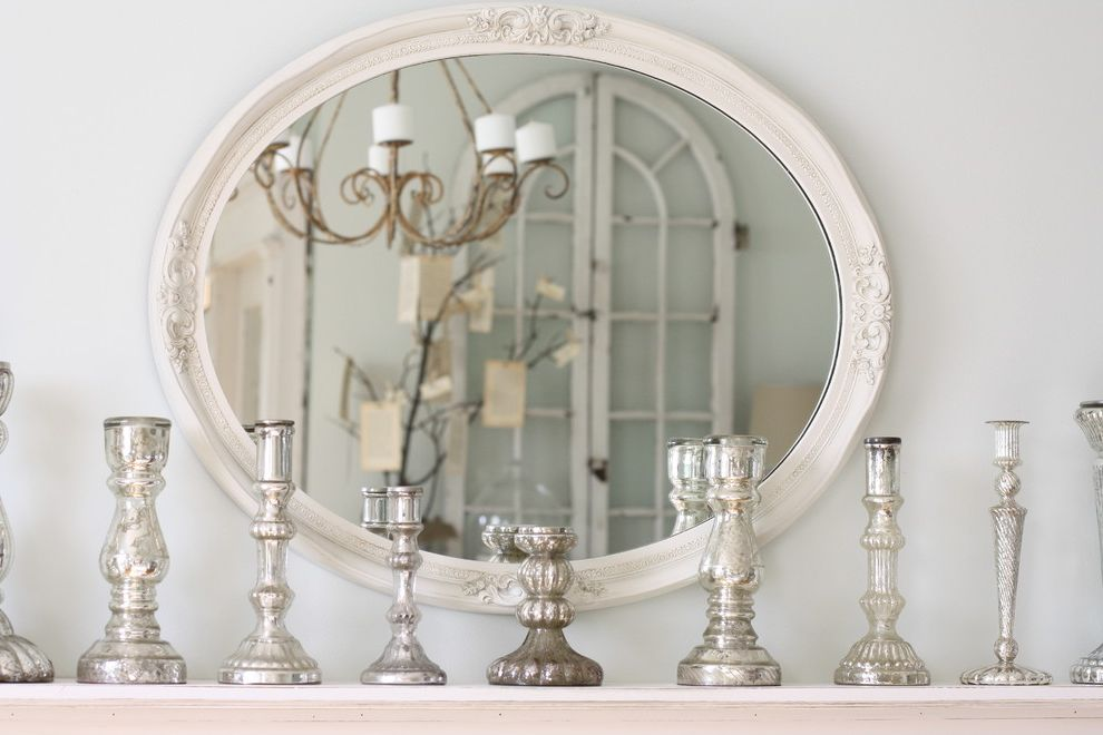Gold Mercury Glass Votives   Eclectic Dining Room Also Candlesticks Chandelier Mercury Glass Oval Mirror Shabby Chic Silver