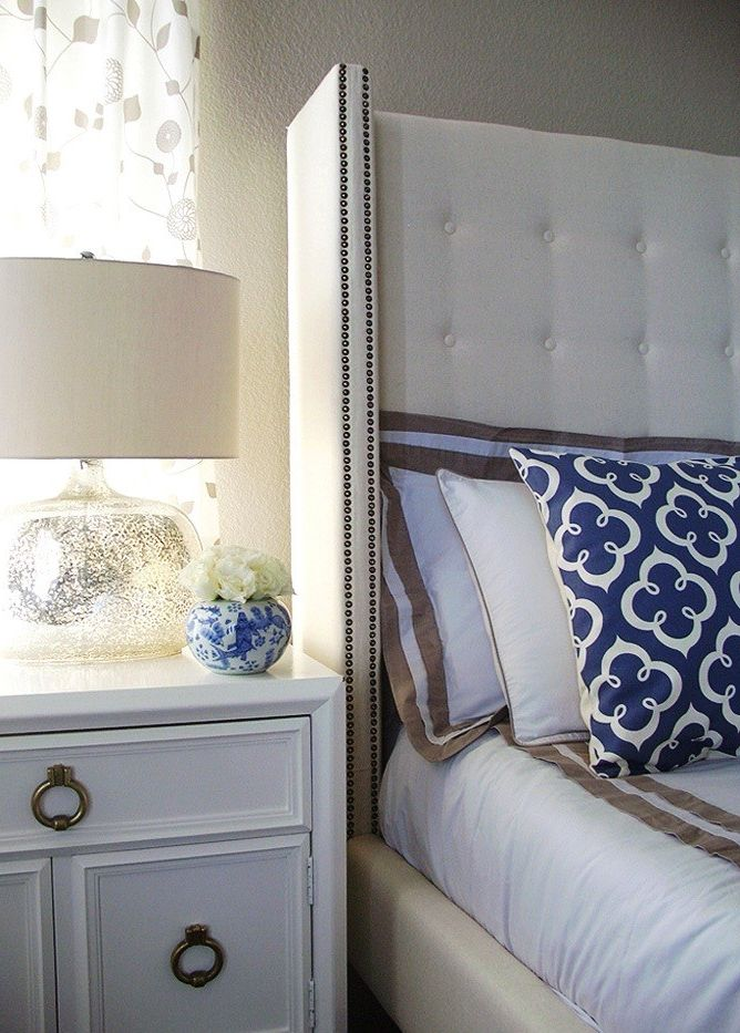 Gold Mercury Glass Votives with Transitional Bedroom  and Blue and White China Vase Dwell Bedding Gray and Indigo Blue Hollywood Regency Vintage Nighstands Mercury Glass Lamp Swanky Swell Fabric Wingback Tufted Bed