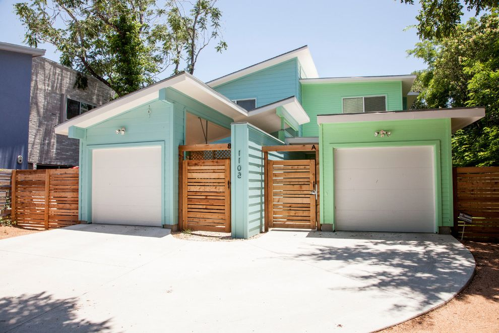 Golden Gate Villa Santa Cruz   Contemporary Exterior  and Driveway Light Blue Exterior Mint Green Exterior Pastel Exterior Slanted Roof Wood Gates