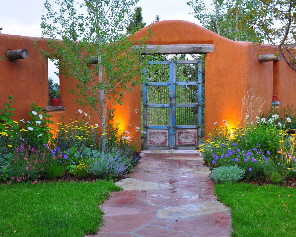 Golden Gate Villa Santa Cruz   Southwestern Landscape Also Adobe Aspen Tree Colorful Flower Garden Exotic Doors Flagstone Path Garden Garden Gates Orange Outdoor Wall Perennial Garden Salvia Spanish Colonial Stucco Wall Wood Posts Yarrow