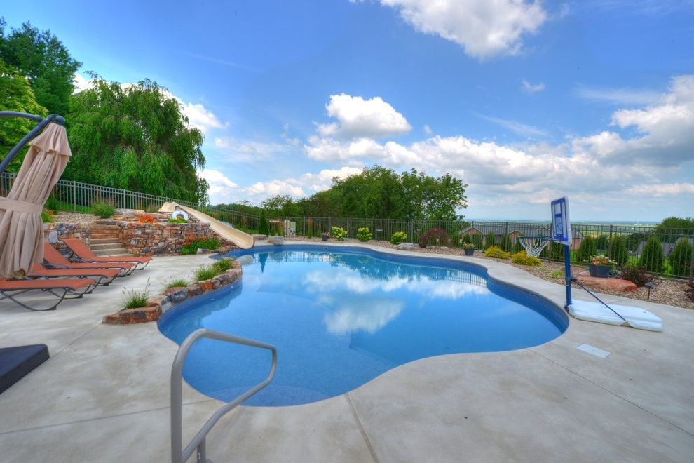 Goodall Pools Contemporary Pool Also Beautiful Central Pa Spas Inground Slide