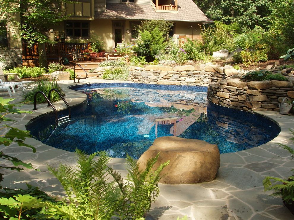 Goodall Pools   Eclectic Pool Also Back Garden Backyard Blue Pool Curved Pool Landscape Mosaic Patio Pavers Rock Stacked Stone Stone Tiled Pool