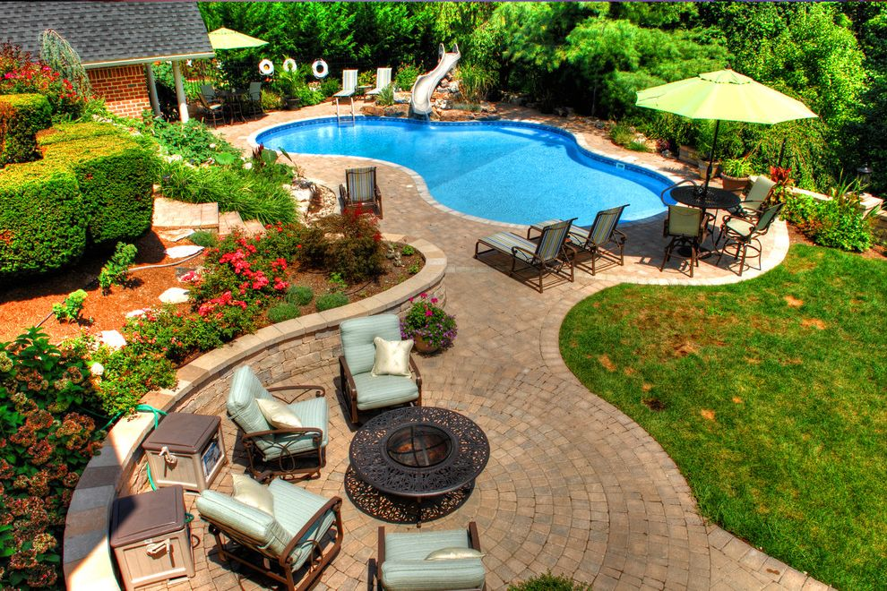 Goodall Pools   Traditional Pool  and Beautiful Pools Fire Pit Outdoor Furniture Outdoor Living Outdoor Lounge Paved Patio Pool Slide