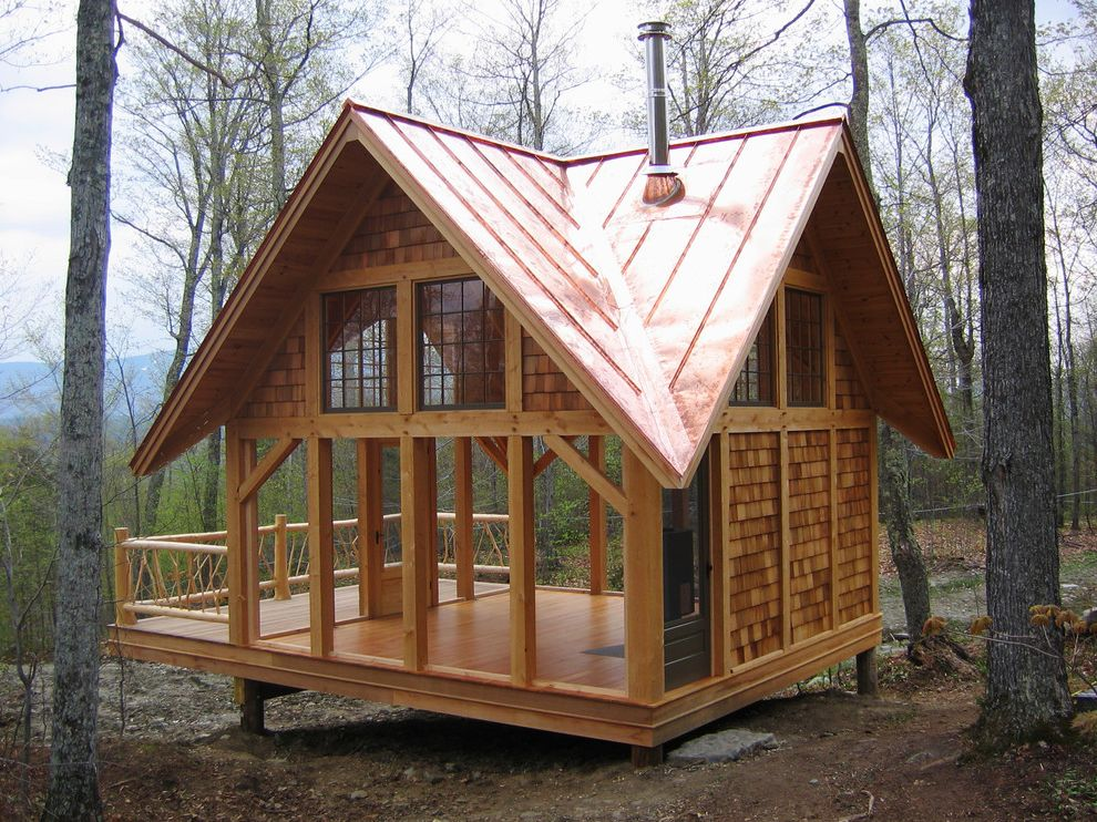 Goose Creek Heating and Air   Traditional Shed  and Deck Eaves Handrail Hillside Porch Roofline Rural Shingle Siding Slope Vaulted Ceiling Wood Post Wood Railing