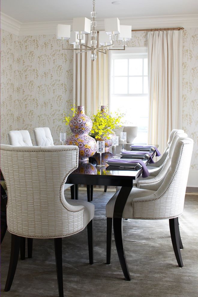 Graceful Tables with Beach Style Dining Room and Carpet Chandelier Dark Stained Wood Dining Chair Ecru Gray Ivory Napkin Purple Upholstered Vase Wallpaper Window Treatment