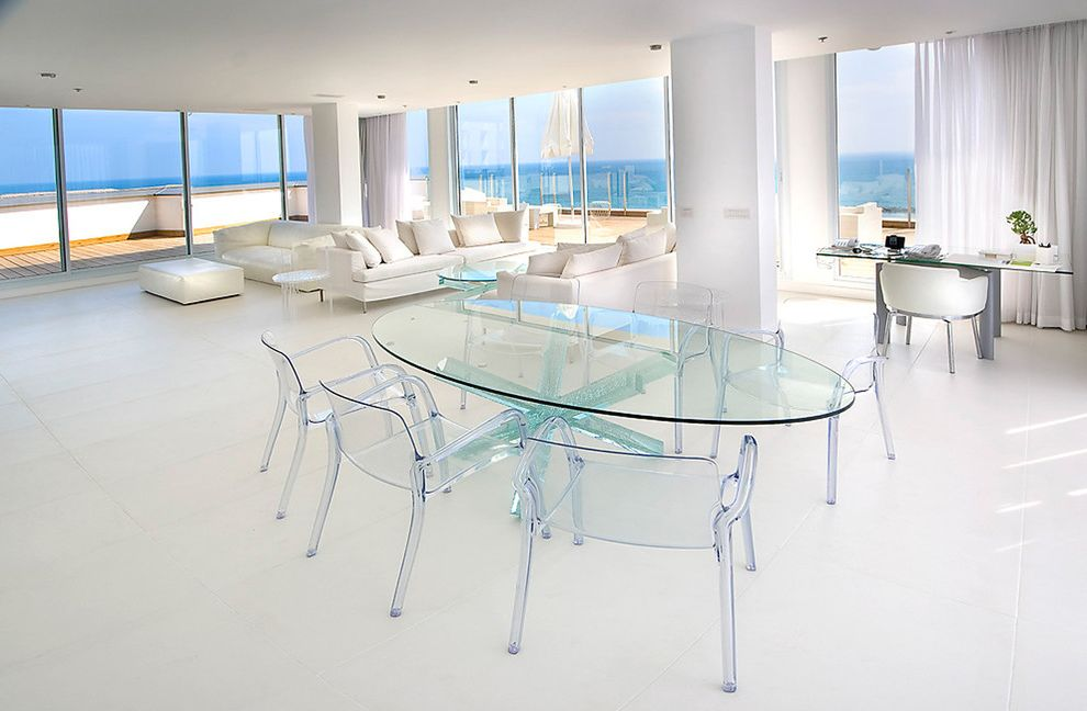 Graceful Tables with Contemporary Dining Room and Clear Chairs Clear Dining Table Coastal Curtains Drapes Glass Dining Table Great Room Round Dining Table View Waterfront White House Window Treatments