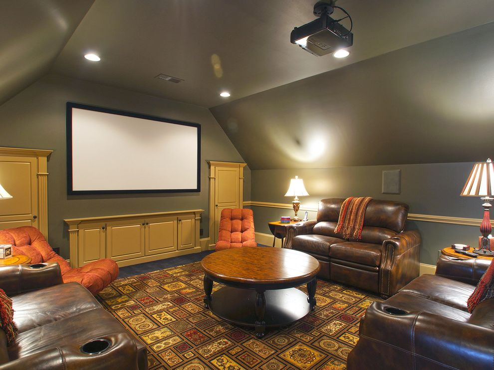 Grain Valley Theater   Traditional Home Theater Also Attic Brown Leather Built in Cabinets Carpeting Chair Rail Converted Attic Space Gold Green Grey Home Theater Leather Sofa Orange Projection Screen Recessed Lights Red Table Lamps Yellow