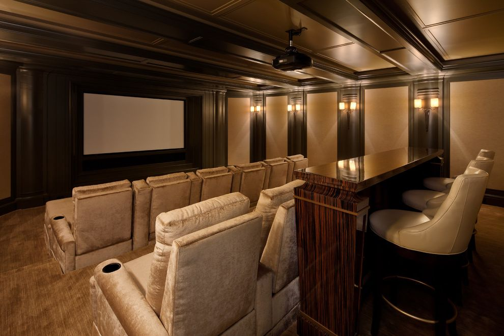 Grain Valley Theater   Traditional Home Theater Also Big Screen Carpet Cup Holders Home Theater Movie Projector Movie Room Paneled Ceiling Snack Table Theater Seating Wall Sconces