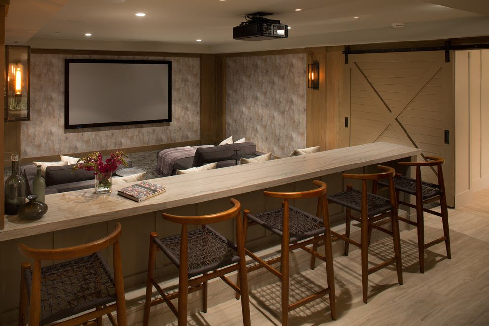 Grain Valley Theater   Transitional Home Theater Also Bar Seating Counter Stools Movie Room Projector Recessed Lighting Sliding Barn Doors Wall Sconces