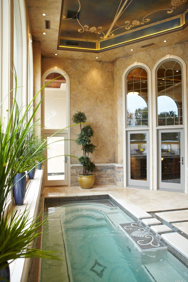 Grande Med Spa   Mediterranean Pool Also Arch Glass Door High Ceiling Indoor Pool Painted Ceiling Plants Plaster Soffit Spa Stone Wall Tile Tray Ceiling
