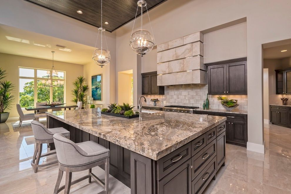 Granite Countertops San Jose   Transitional Kitchen Also Counter Stools Custom Vent Hood Dining Area House Plants Large Kitchen Island Paneled Ceiling Pendant Lights Sink in Island Tall Ceilings Under Island Storage