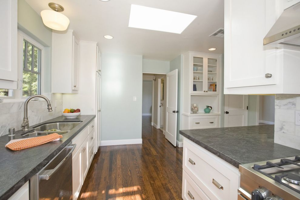 Granite Countertops San Jose with Beach Style Kitchen  and Benjamin Moore Palladian Blue Fir Wood Floor Hutch Laundry Laundry in Kitchen Seafoam Walls Shaker Doors Square Sticking Shaker Stacked Laundry White Kitchen