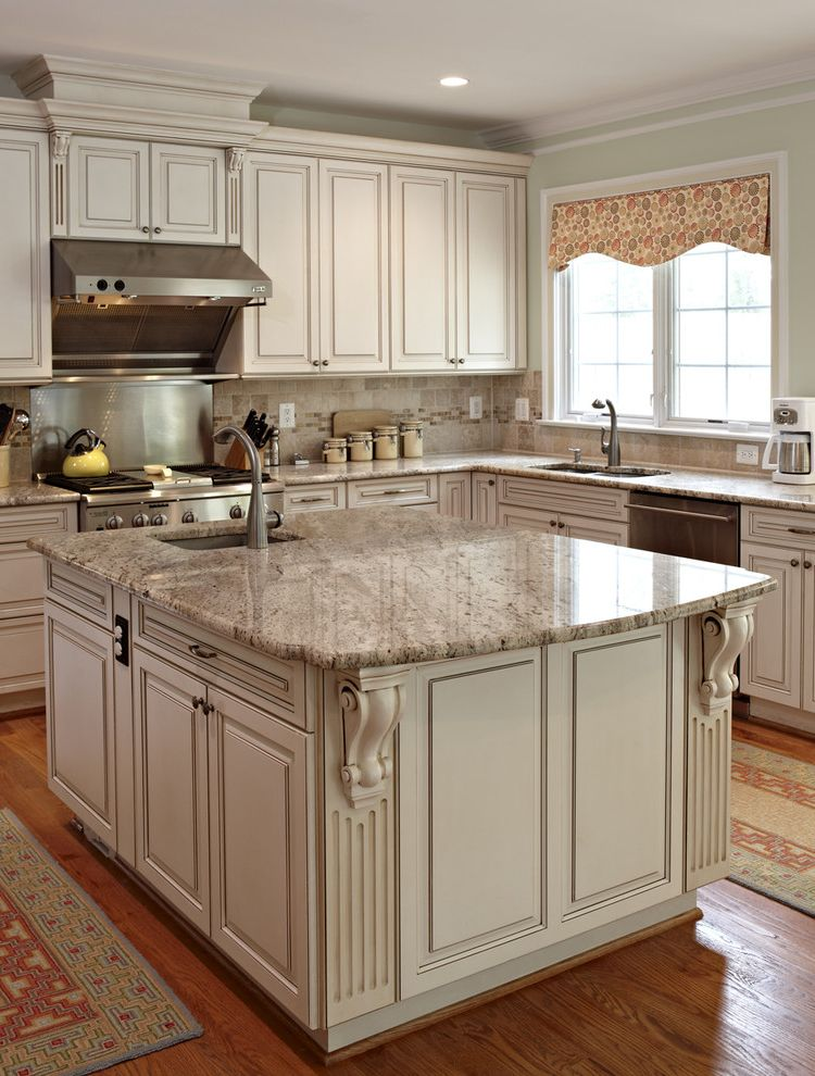 Granite Fabricators Denver   Traditional Kitchen  and Canister Set Granite Countertops Kitchen Island Kitchen Rugs Range Hood Stainless Steel Appliances Valance White Cabinets White Kitchen Window Treatments Wood Cabinets Wood Flooring