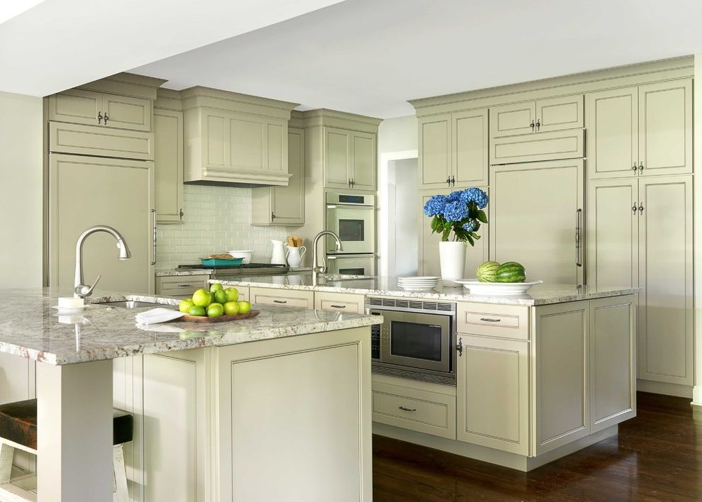 Granite Transformation Cost   Traditional Kitchen  and Concealed Appliances Glazed Cabinets Granite Countertop Hydrangea Integrated Kitchen Mocha Glaze Painted Cabinet Painted Maple Cabinets Shaker Door Style Subway Tile Taupe Painted Cabinet Wood Floor