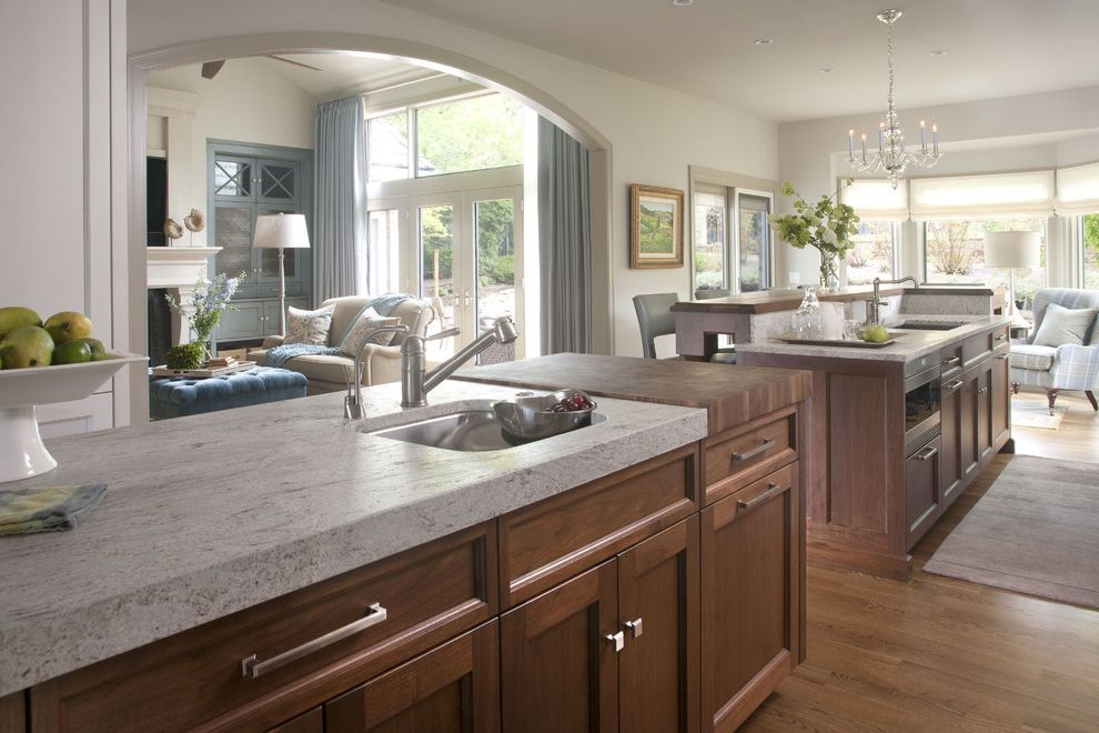 Granite Transformation Cost   Transitional Kitchen  and Archway Chandelier Floor Mat Glass Doors Hardwood Floor Island Island Storage Light Blue Accents Living Room Neutral Colors Sitting Area Two Sinks White Wall