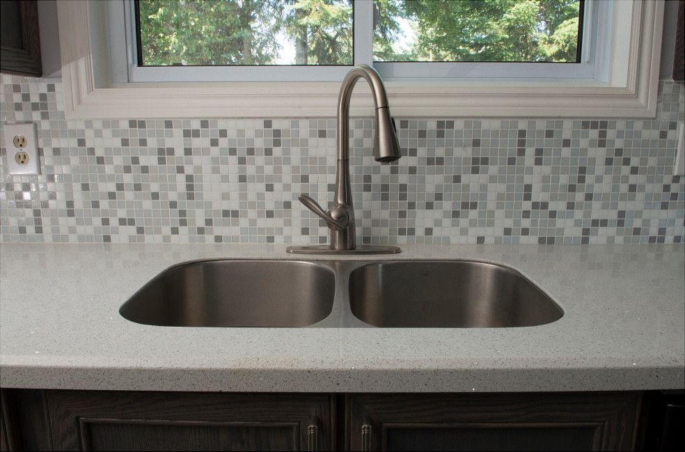 Granitetransformations Com   Traditional Kitchen  and Engineered Stone Glass Mosaic Granite Transformations Gray Grey Grey Backsplash Mosaic Tile Oak Reface Stain Stainless Tile Undermount Sink Wood Cabinets Wood Door
