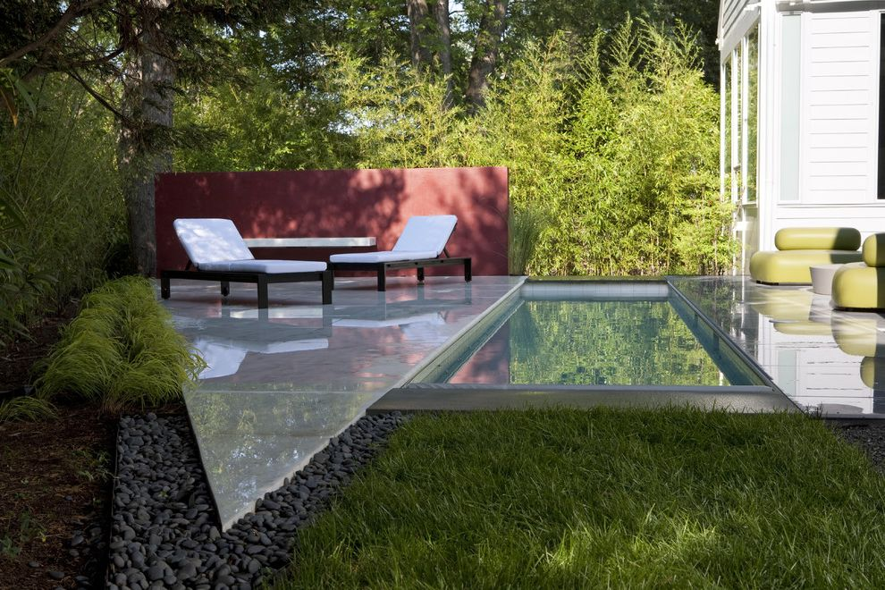 Graves Pro Builds   Transitional Landscape Also Chaise Longue Chaise Lounge Garden Wall Geometric Geometry Grass Lap Pool Lawn Outdoor Cushions Patio Furniture River Pebbles Turf Water Feature