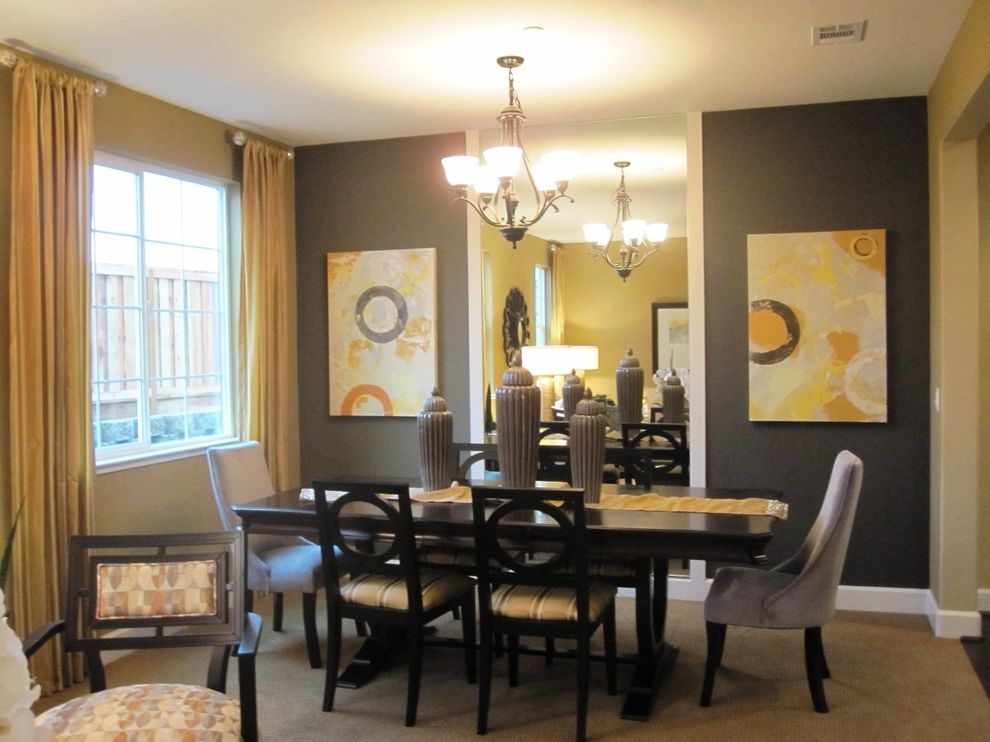 Gray and Yellow Area Rug   Contemporary Dining Room Also Accent Wall Centerpiece Chandelier Curtains Dark Walls Dark Wood Dining Furniture Drapes Mirrored Wall Table Runner Trestle Table Upholstered Dining Chairs Wall Art Wall Decor Window Treatments