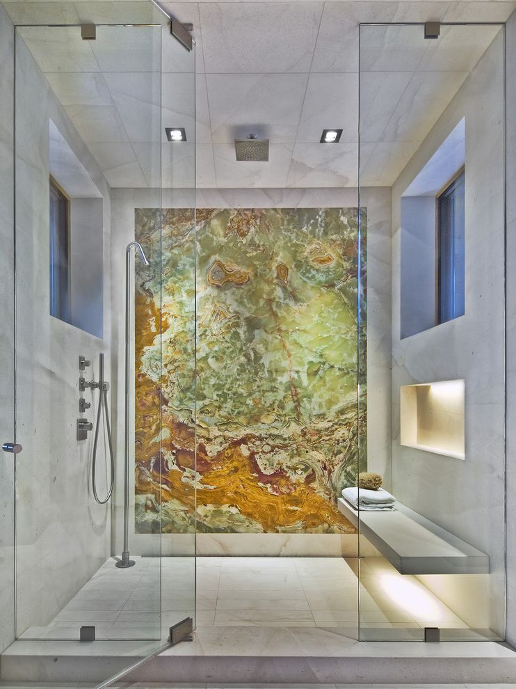 Great Finds and Designs   Contemporary Bathroom  and Alcove Glass Panel Marble Slab Pivot Door Rain Shower Recessed Lights Shower Shower Bench Tile Ceiling Tile Floor Tile Walls Windows