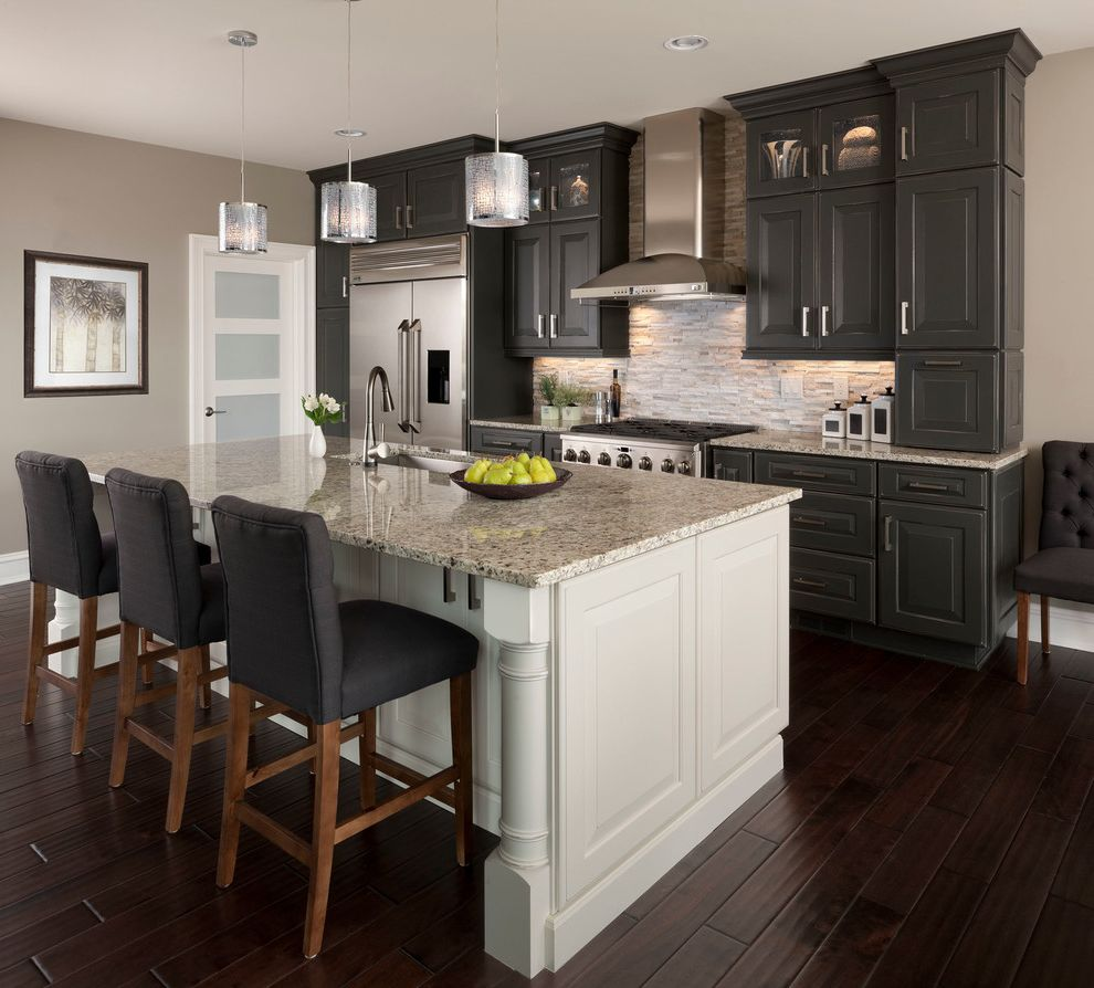 Great Finds and Designs   Transitional Kitchen  and Dark Wood Floors Glass Front Cabinets Gray and White Gray Walls Island Lighting Island Seating Island Sink Kitchen Island White Trim