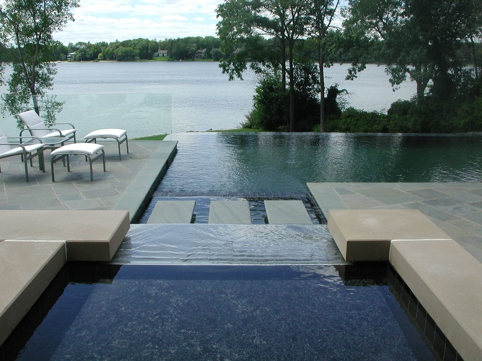 Great Oaks Landscaping   Modern Pool  and Backyard Bluestone Bluestone Steps Deck Hardscape Infinity Pool Lakeside Landscape Landscape Architecture Landscape Design Negative Edge Pool Patio Pool Deck Pool Spa Pools Pools and Spa