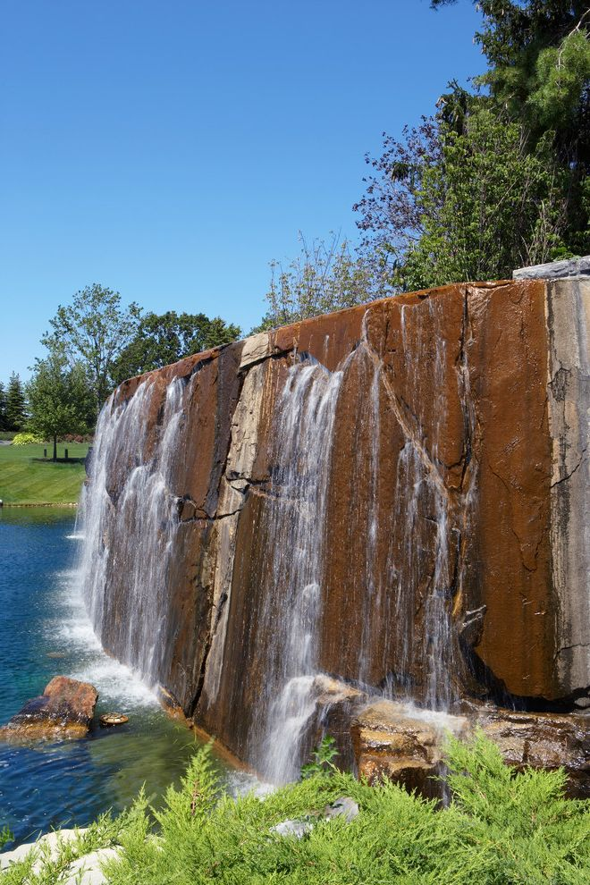 Great Oaks Landscaping   Rustic Landscape Also Man Made Waterfall Manmade Lake Tall Waterfall