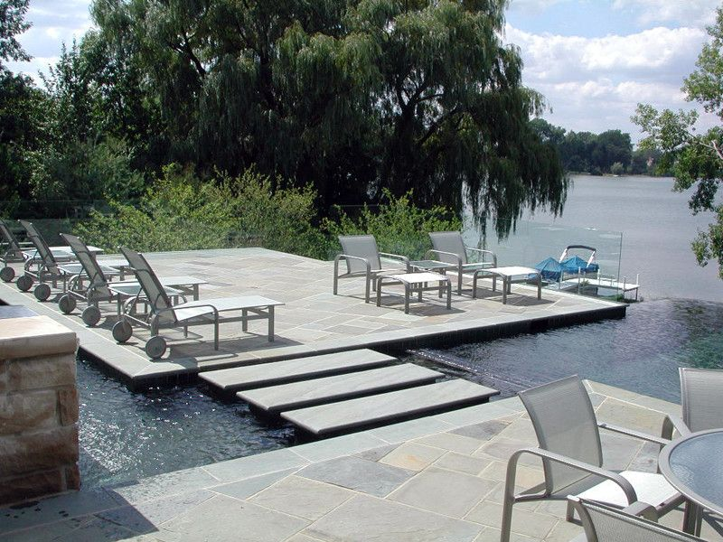 Great Oaks Landscaping with Modern Pool Also Backyard Bluestone Hardscape Infinity Pool Lakeside Landscape Landscape Architecture Landscape Design Negative Edge Pool Outdoor Sitting Area Patio Pool Deck Pool Spa Pools Pools and Spa