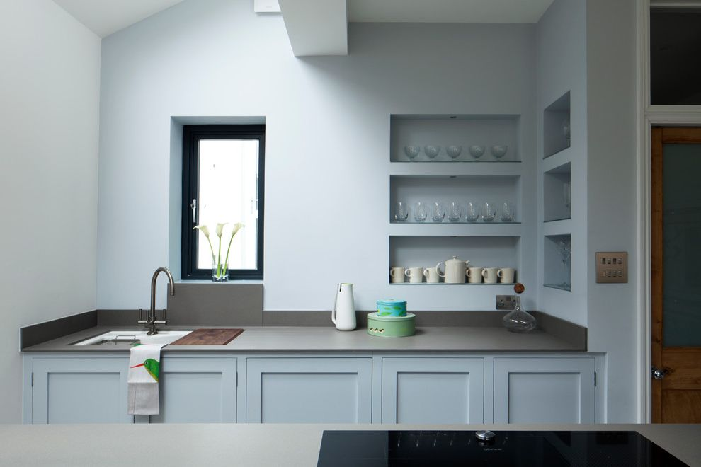 Green Acres Roseville   Contemporary Kitchen  and Blue Kitchen Built in Shelves Glass Storage Gray Worktop Grey Worktop Kitchen Shelves Kitchen Sink Kitchen Storage Light Blue Cabinets Pale Blue Kitchen Recessed Wall Niche Swan Neck Tap Wine Glass Shelf