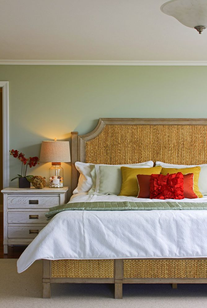 Green Acres Roseville with Tropical Bedroom Also Area Rug Beach House Bedroom Coastal Furniture Light Green Nightstand Red Pillows Tropical Bedroom White Duvet Woven Headboard Yellow