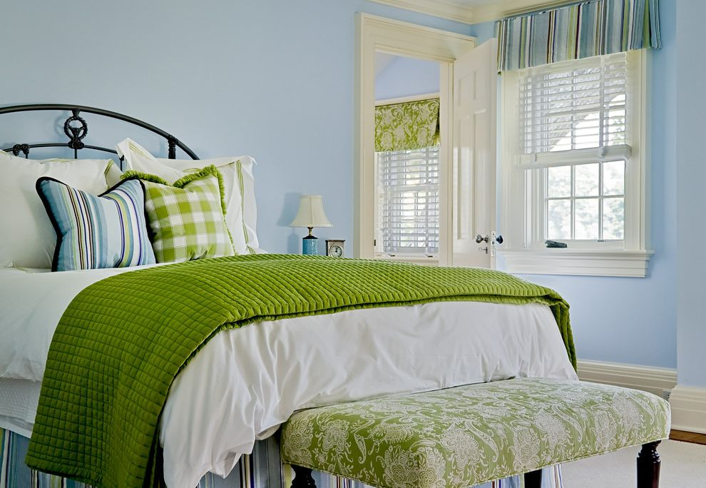 Green and Blue Throw Pillows   Traditional Bedroom  and Baseboards Bed Pillows Bedroom Blue Walls Colorful Decorative Pillows Foot of the Bed Green Blanket Iron Bed Striped Bedskirt Throw Pillows Valance White Wood Window Treatments Wood Trim