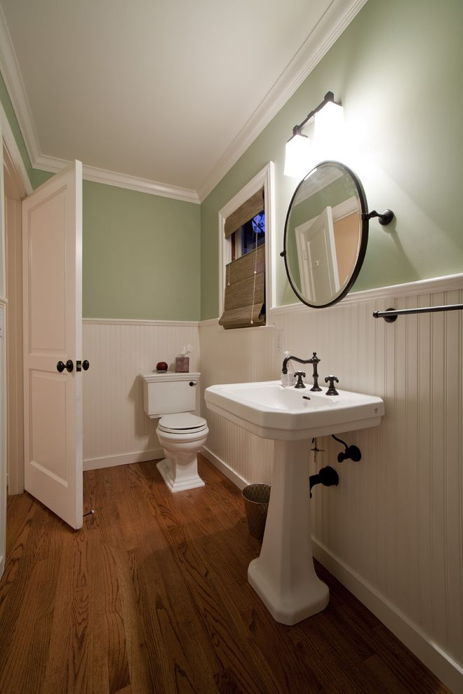 Green Board Drywall   Traditional Bathroom Also Bead Board Brass Crown Molding Custom Homes Green Home Builder Kitchen Remodeler Pedastal Sink Roman Shade Round Mirror San Francisco Supple Homes Tilt Mirror Wainscot Wood Floor Woven Shade