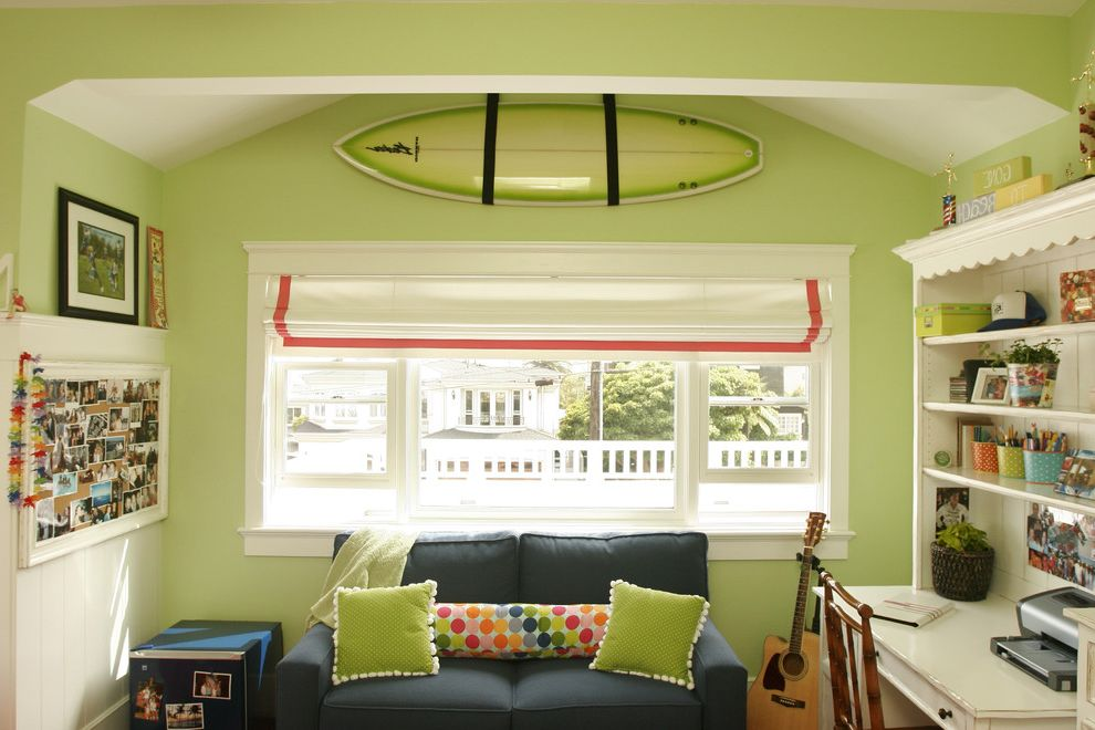 Green Board Drywall with Beach Style Kids Also Desk Green Guitar Lei Lime Mini Fridge Navy Photos Picture Rail Pleated Polka Dot Red Stripe Roman Shade Scallop Surf Board Vaulted Ceiling Wainscot White Window