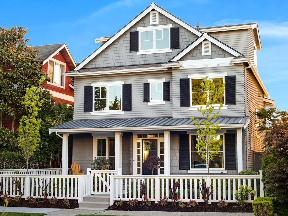 Grey House White Shutters   Craftsman Exterior  and 2gig Wireless Security Craftsman Double Hung Windows Energy Star Home Louvered Shutters Madison Park Radion Ra2 Lighting Seattle Sonos Standing Seam Metal Roof White Fence
