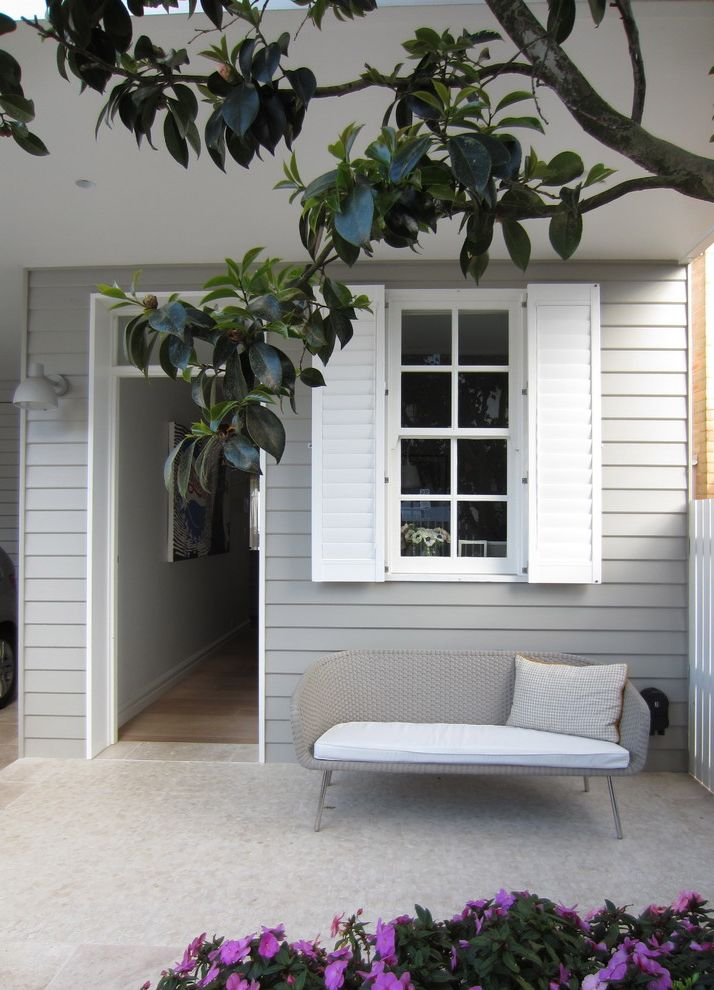 Grey House White Shutters   Traditional Porch Also Bench Front Entrance Shutters Siding White Shutters Wood House