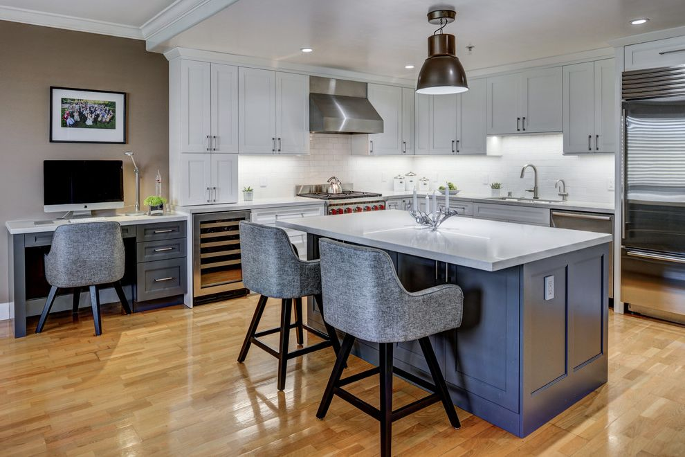 Grey L Shaped Desk   Transitional Kitchen  and Custom Cabinets Desk in Kitchen Gilmans Gray Bar Stool Pendant Light Shaker Style White Countertop White Kitchen