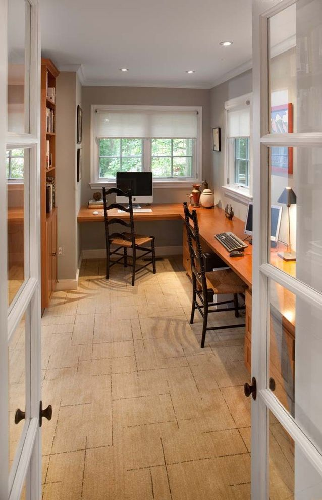 Grey L Shaped Desk with Traditional Home Office Also Built in Desk Area Built in Desk Carpeting French Doors Gray Ladder Back Chairs Roller Shades Rush Seat White Painted Trim