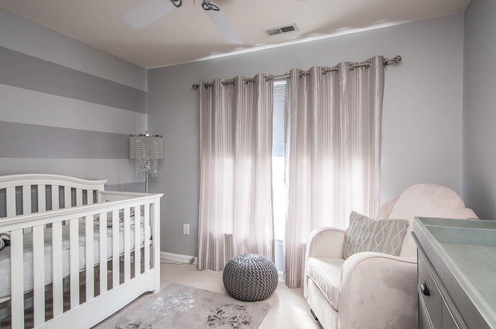 Grey Striped Sheets   Contemporary Nursery  and Area Rug Armchair Baby Bling Ceiling Fan Changing Table Crib Curtain Panels Floor Lamp Gray Knitted Neutral Nursery Pouf Stripes White
