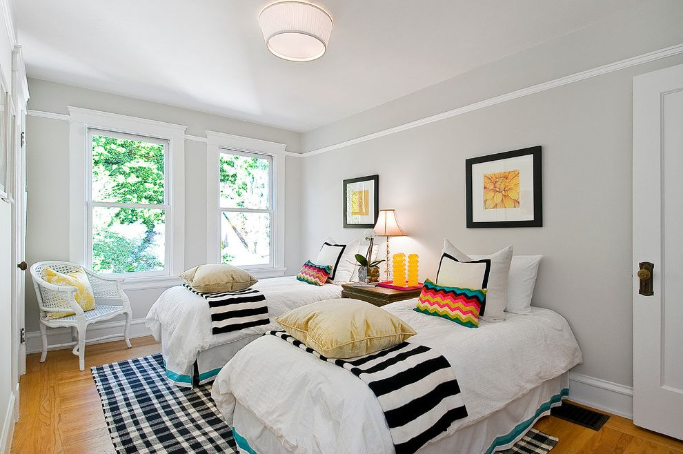 Grey Striped Sheets with Eclectic Kids Also Art Bed Bedding Bedroom Black and White Stripe Black Frame Ceiling Light Chair Chevron Chevron Pillows Guest Room Molding Rug Twin Beds Wood Floor