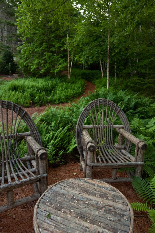 Grotto Boston   Rustic Landscape  and Ferns Garden Lighting Grove Mass Planting Naturalistic Outdoor Seating Path Patio Furniture Permeable Paving Walkway Willow Furniture
