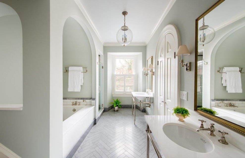 Grotto Boston with Traditional Bathroom Also Arched Doorways Archway Chevron Glass Bulb Pendant Herringbone Tile Natural Lighting