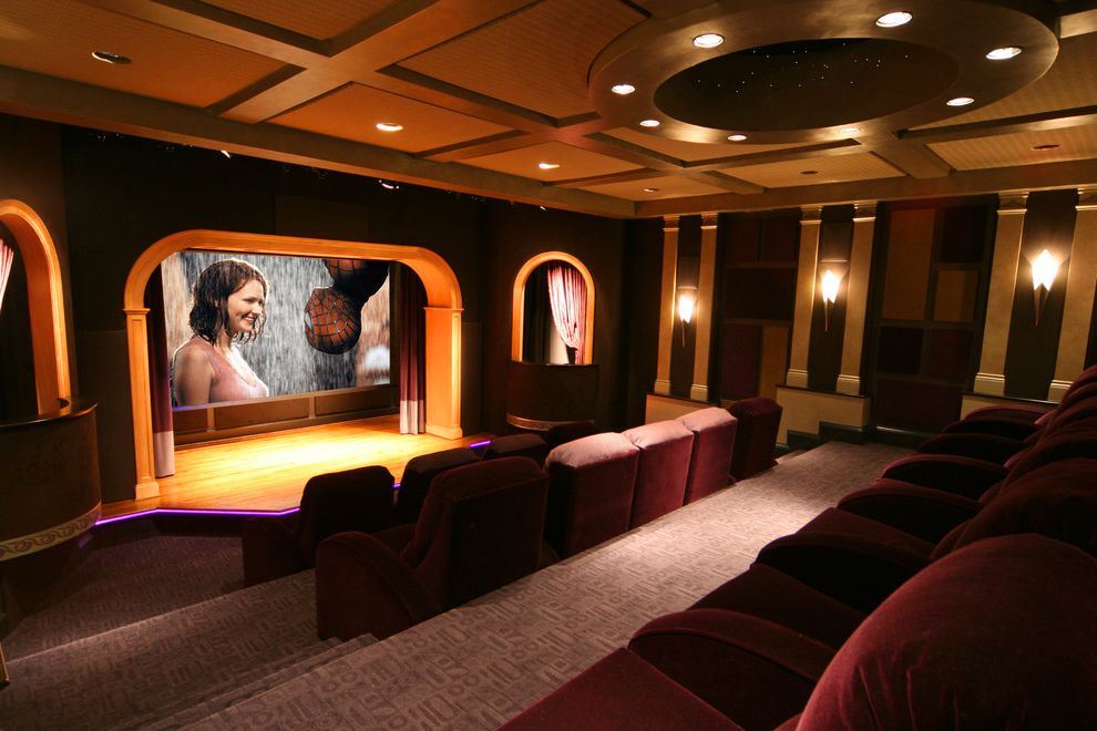 Grundy Center Theater   Contemporary Home Theater Also Ceiling Lighting Coffered Ceiling Home Theater Recessed Lighting Reclining Chairs Sconce Screening Room Stadium Seating Stage Wall Lighting