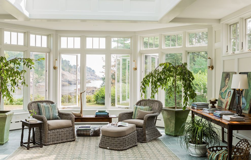 Gulf Coast Windows with Beach Style Sunroom Also Area Rug Coastal Design Custom Millwork Nantucket Style New England Design Oceanfront Home Renovation Transom Windows Wicker Furniture Windows