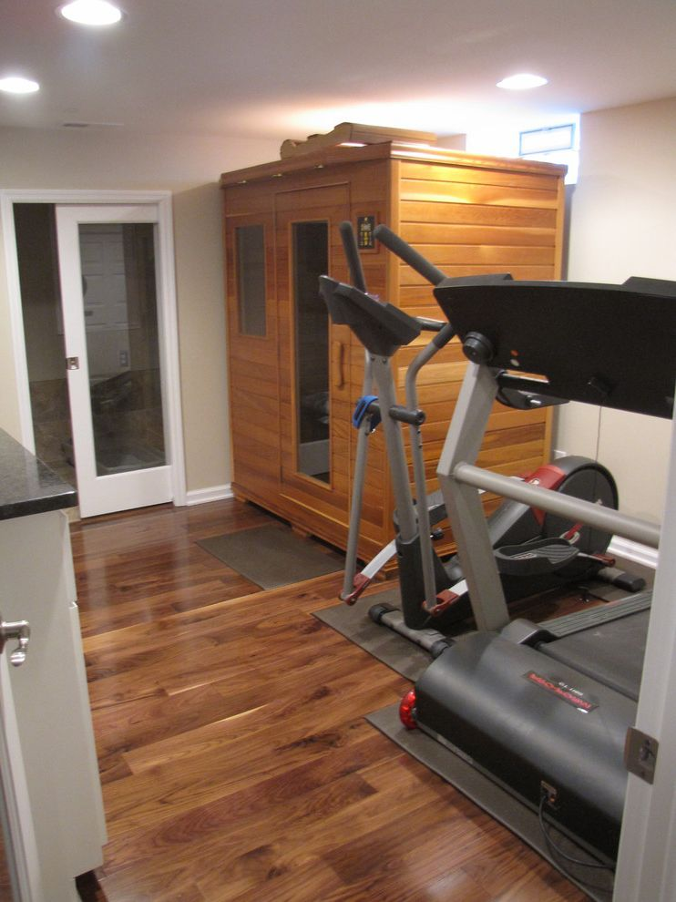 Gyms with a Sauna   Contemporary Home Gym  and Exercise Room Sauna