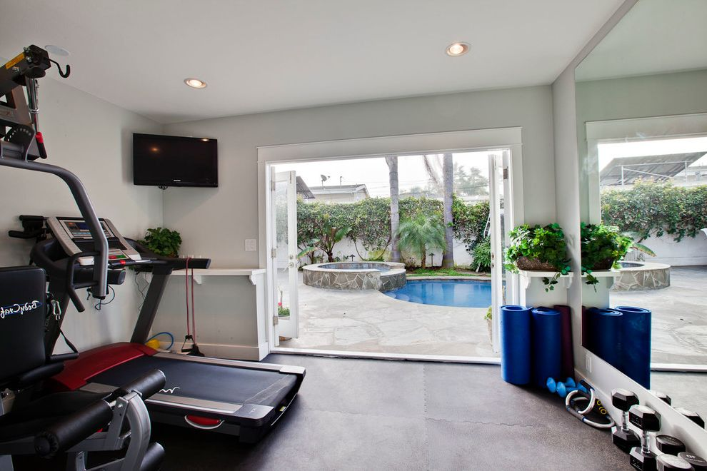 Gyms with a Sauna   Traditional Home Gym  and Doors Lighting Mirrors