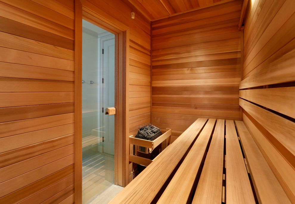 Gyms with a Sauna   Traditional Home Gym  and Glass Door Sauna