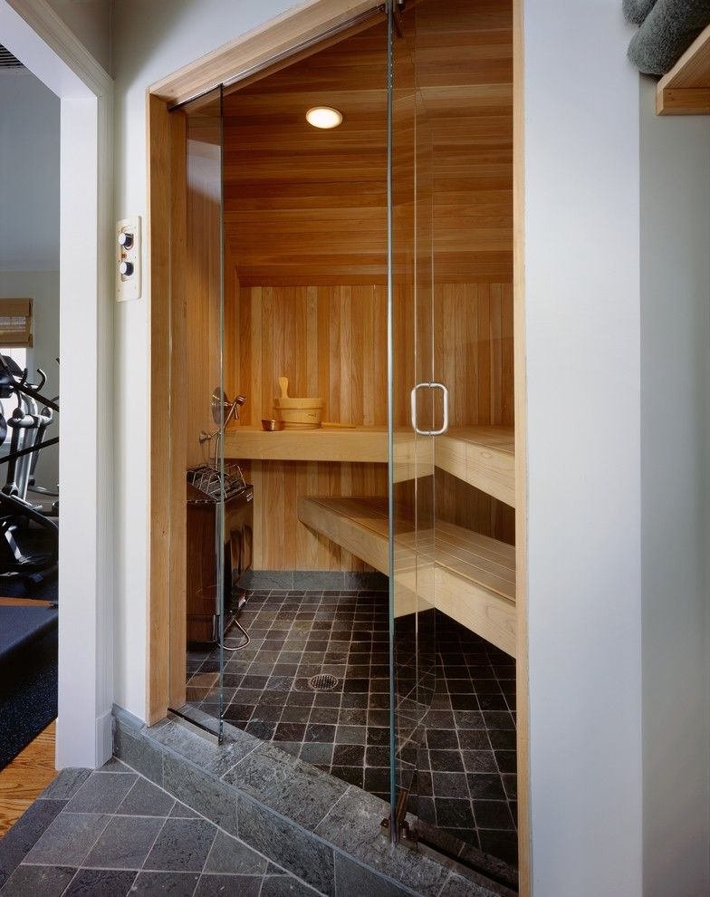 Gyms with a Sauna with Contemporary Bathroom Also Bench Seat Doorway Glass Door Recessed Lighting Sauna Slate Spa Steam Room Tile Floor White Cedar Wood Paneling